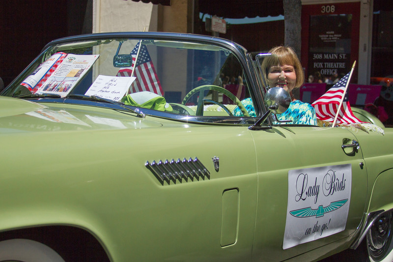 Marlene Brock sit in her 1956 Thunderbird convertible during the 29th Annual Downtown Visalia Car Show. Marlene belongs to the Lady Birds, a group of ladies aged 60-85 who own vintage Thunderbirds and participate in car shows and parade throughout the state of California.