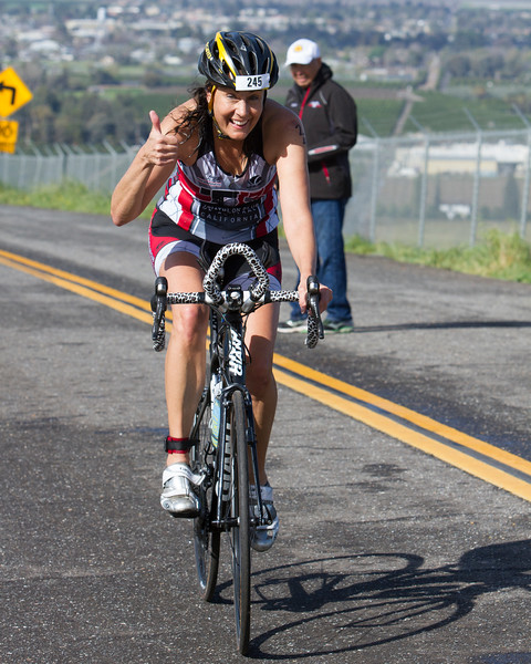 The 2016 edition of the Rocky Hill Triathlon was held on Sunday, March 6th. Here Sprint distance participant Kelly Irwin of Clovis is all smiles as she crests Rocky Hill.