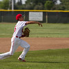 Lindsay Cardinal sophomore 3rd baseman Jesus Espinoza fires the ball to 1st base during Lindsay's contest against the Corcoran Panthers. Espinoza was 3-4 at the plate for the Cardinals. Lindsay lost the extra innings contest to the Panthers 5-3 in 8 innings.