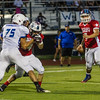 Farmersville standout QB Sam Metcalf (7) stands in the pocket for the East team during the 48th Annual Tulare-Kings All Star Football Game on Saturday, June 27th. This all star game supports youth activities in the two counties.