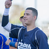 The 56th Exeter Lions East vs. West High School All-Star Baseball Game was played at Rawhide Stadium in Visalia on Saturday, June 4, 2016. Farmersville all-star Andrew Williamson acknowledges the fans during pre-game introductions.