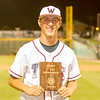 Tulare Western Mustang pitcher Wyatt Gilbert displays the plaque he received for being the MVP of the 57th Annual East West All-Star Baseball Game  held Wednesday, June 7th at Visalia Rawhide Stadium. Gilbert led the East team to a 4-2 victory.