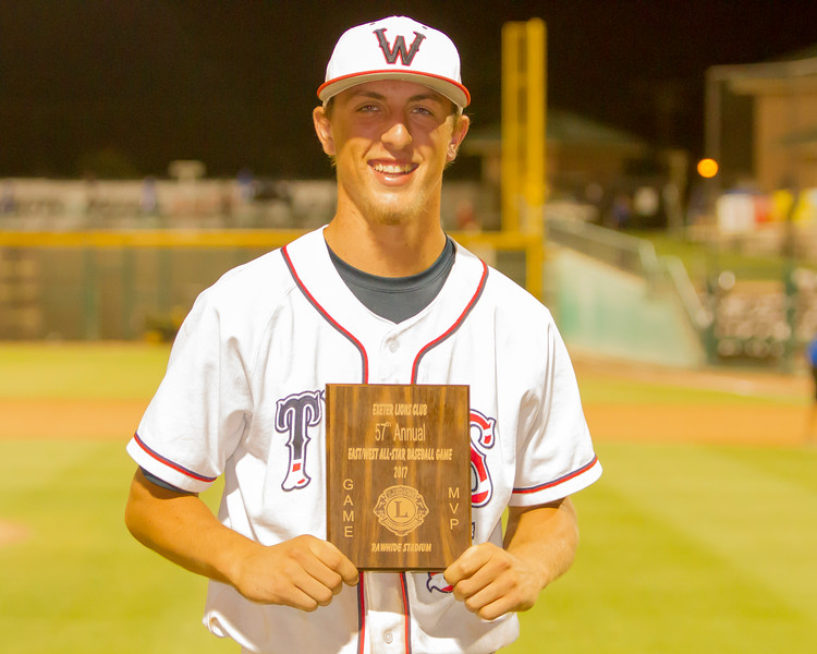 TWHS Mustang Wyatt Gilbert displays the MVP plaque from the 57th Annual East West All-Star Baseball Game. The All-Star Game  is sponsored by the Exeter Lions Club. Gilbert led the East, which included all-stars from  Delano,  Exeter, Farmersville, Granite Hills, R.F. Kennedy, Lindsay, Mission Oak, Porterville, Strathmore, Tulare Union, Tulare Western, and Woodlake. It was coached this year by Porterville igh School head coach Mike Hill.