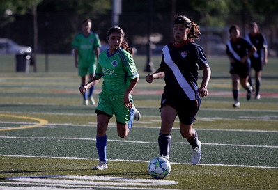 Farnersville's Stephanie Alba moves the ball forward for the East team during the 5th Annual Tulare & Kings County Soccer All-Star game.