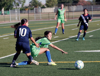 Janelly Rangel of Lindsay, playing for the East All-Star team in the 5th Annual T & K County Soccer All-Star game.