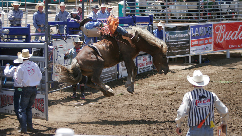 High flying action during the Saddle Bronc portion of the 61st Annual Woodlake Lions Rodeo.