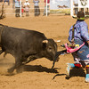 The rodeo clowns participated in a bullfight with one of the bulls during the 62nd Woodlake Lions rodeo on Saturday, May 9th. No bulls, or rodeo clowns were harmed during the bull fight.