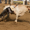A bull rider during the Woodlake Lions rodeo needed some help from the rodeo clowns in order to get his hand released. The 62nd Annual Woodlake Lions Rodeo took place on May 9-10 in Elderwood.
