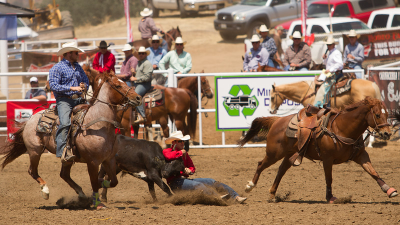 A steer wrestler digs in his heels during the 62nd edition of the Woodlake Lions Club Rodeo held on May 9-10.