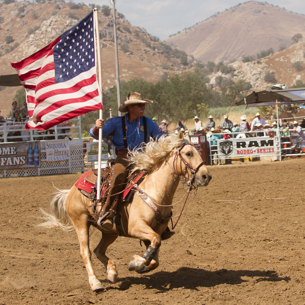 Old Glory was waving all over the rodeo arena at the 62nd Annual Woodlake Lions Club Rodeo on May 9-10.
