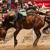 This bareback riders looses his cowboy hat during his ride in the 62nd Annual Woodlake Lions Club Rodeo held in Elderwood in May 9-10.