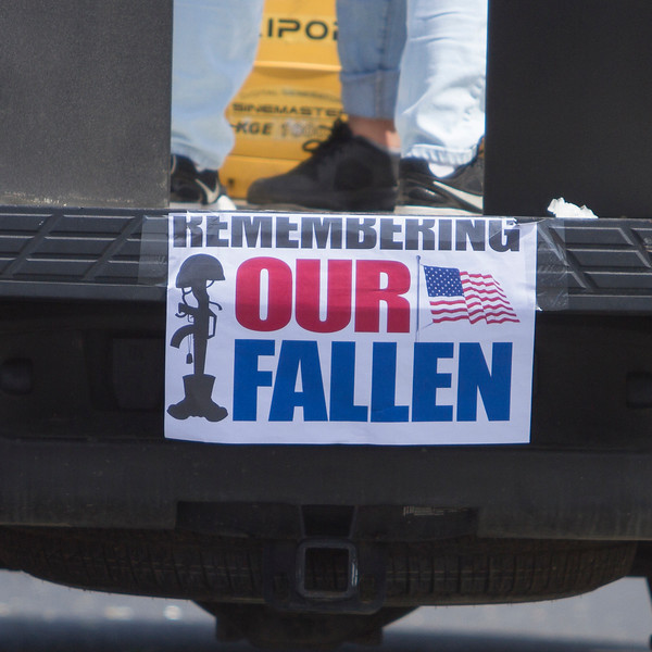 The last participant in the 63rd Farmersville Memorial Day Parade had this sign attached to their back bumper reminding the large crowds the reason we celebrate Memorial Day.