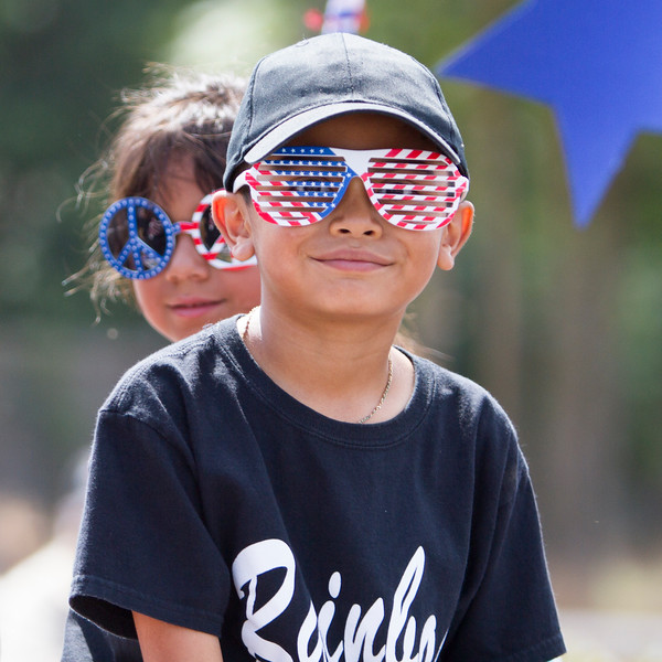 Many Farmersville  Memorial Day Parade participants, including these Rainbow baseball players sported patriotic eye wear during this year's 63rd parade.