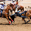 The 65th Annual Woodlake Lions Club Rodeo took place on Mother's Day weekend at the Woodlake Rodeo grounds in Elderwood. Here a steer wrestler hopes to get the steer to the ground in under 10 seconds.