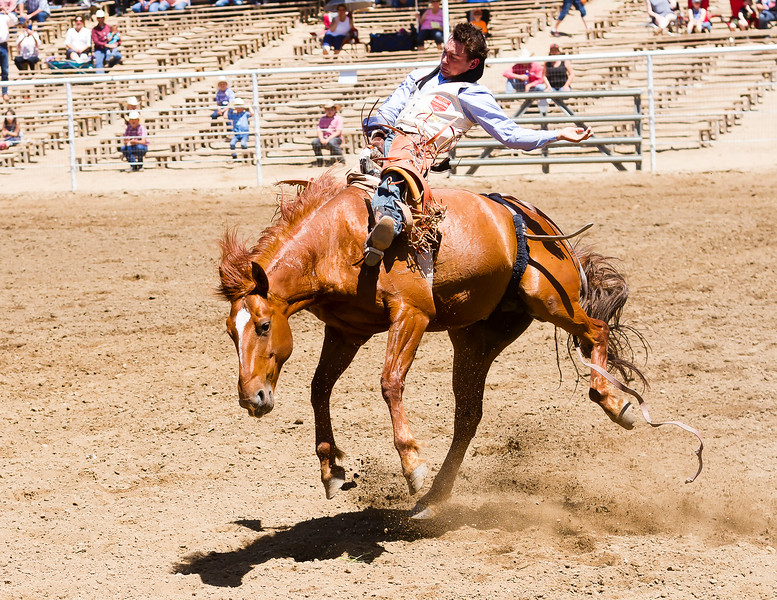 The 65th Annual Woodlake Lions Club Rodeo took place on Mother's Day weekend at the Woodlake Rodeo grounds in Elderwood. Bareback riding is  one of the most physically demanding events in the rodeo.