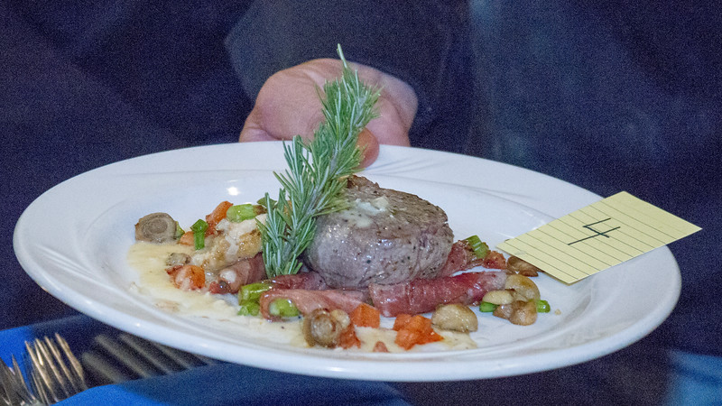 The winning steak dish, filet mignon over prosciutto wrapped asparagus was prepared by Tulare County Sheriff Mike Bourdreaux at the 8th Annual Visalia Rescue Mission Food Fight for Families.