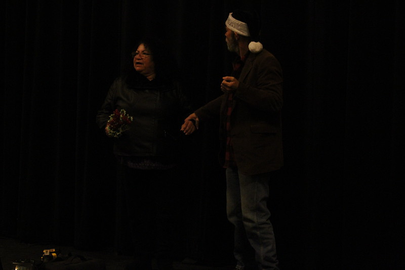 """Lindsay Community Theater will present """"A Christmas Carol"""" on December 19th, 20th, and 21st in the Lindsay Theater. Ebenezer Scrooge (George Pearce) is visited by the Ghost of Christmas Past (Rosie Regalado)."""