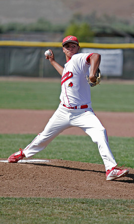 Lindsay Cardinal pitcher Israel Uribe throws the heat against Corcoran on 4/30.