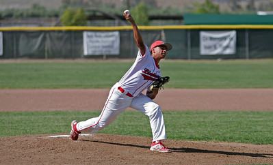 Lindsay Cardinal Israel Uribe pitches in a 15-3 loss to the Corcoran Panthers on Wednesday, April 30th.