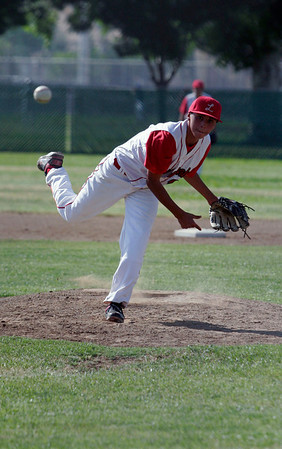 Lindsay Cardinal pitcher Julian Gonzalez throws a pitch against Corcoran on May 2, 2013.