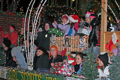 The Girl Scouts float at the Exeter Christmas Parade.