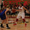 Lindsay's Christina Castro (10) bring the basketball up court against Exeter's Jacqueline Hutcheson (2). The Cardinals won 60-34 behind Castro's 28 points to advance to the CIF Central Section Division IV Final.