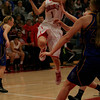 Lindsay Cardinal Megan Salinas (1) goes for a lay-up during their 60-34 semi-final victory over the Exeter Monarchs.
