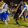 Woodlake Tiger QB Damian Hernandez rushes between Exeter Monarch defenders Hank Williams (7) and Alex Riggi (8) in CIF Division 5 playoff action. The Monarchs would go on to a 17-12 victory to advance to the next round.