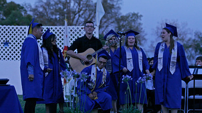 "Farmersville's Senior Choir performs a medley of ""Ice, Ice Baby/Stand By Me/Ranchera"" at the Farmersville Graduation Ceremony on June 6, 2014."