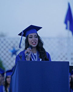 Farmersville ASB President Danielle Renteria Andrade addresses her classmates during the 2014 Farmersville High School Graduation.