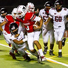 Lindsay Cardinal Nick Dumming (3) rushes the football in the Cardinal's 41-20 win over the Fowler Redcats.