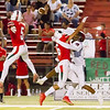 Lindsay Cardinal Safties Mario Diaz (5) and Elian Ibarra (6) defend a pass against the Fowler Redcats. The Cardinals would win by a 42-20 score.