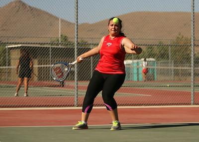Lindsay's Alejandra Lopez hits a forehand return against Granite Hills.