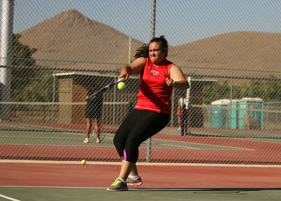 Lindsay #2 seed Alejandra Lopez launches a forehand during her match against Granite Hills on Thursday.