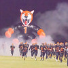 The Woodlake Tigers make a dramatic entrance on to the field through their giant Tiger tunnel. The Tigers went on to defeat their opponent, the Granite Hills Grizzlies by a 14-6 score.