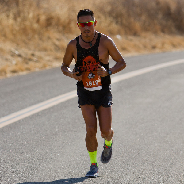 Oswaldo Lopez reaches the top of Rocky Hill during the Hell of a Half Marathon. Lopez went on to finish third overall.