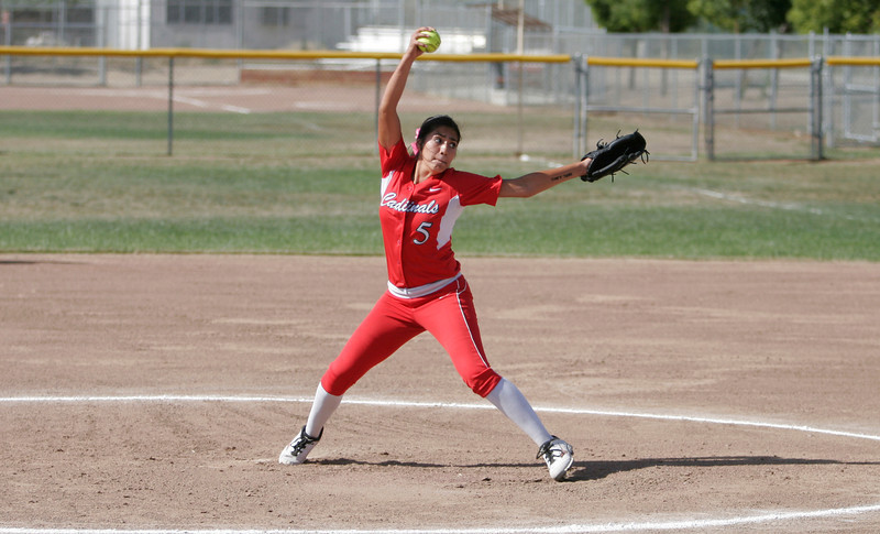 Lindsay Cardinal pitcher Lina Padilla (5) throws the heat against Immanuel. Padilla threw a complete game in a 4-3 Cardinal win.