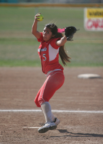 Lindsay's Linda Padilla (5) pitched an 8 inning complete game to lead the Cardinals to victory over the Immanuel Eagles 4-3 to advance to the Division V quarterfinals against Kern Valley.