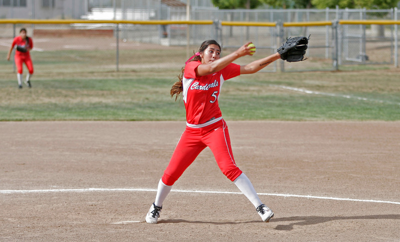 Lindsay Cardinal pitcher Lina Padilla went all 7 innings in the Cardinal's 2-1 playoff loss to the Kern Valley Broncos on Friday.