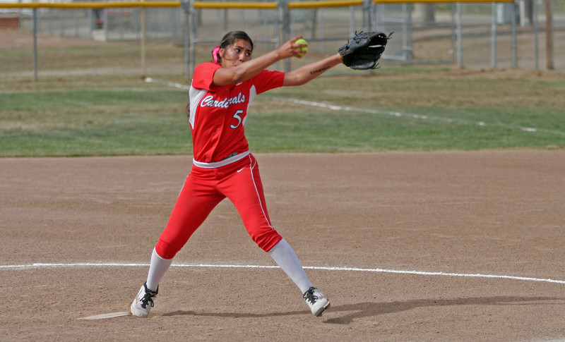 Lindsay pitcher Lina Padilla (5) brings the heat during the Cardinals Division V quarterfinal game against Kern Valley. The Broncos ended Lindsay's season with a 2-1 victory.