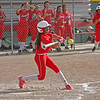 Lindsay Cardinal freshman phoenom Raquel Gonzalez makes good contact during the Cardinals Division V softball playoff contest against the Kern Valley Broncos.