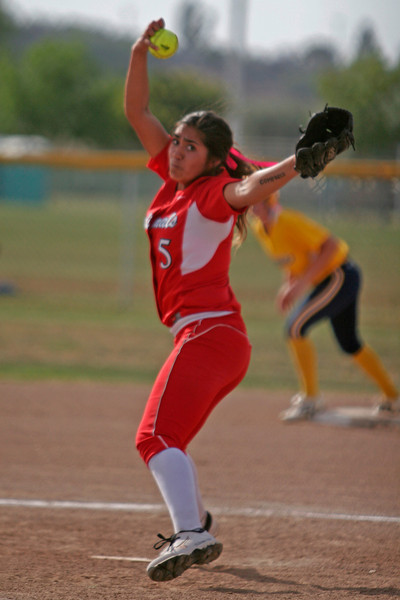 Lindsay Cardinal pitcher Lina Padilla cranks up an off-speed pitch against Kern Valley on Friday, May 16th.