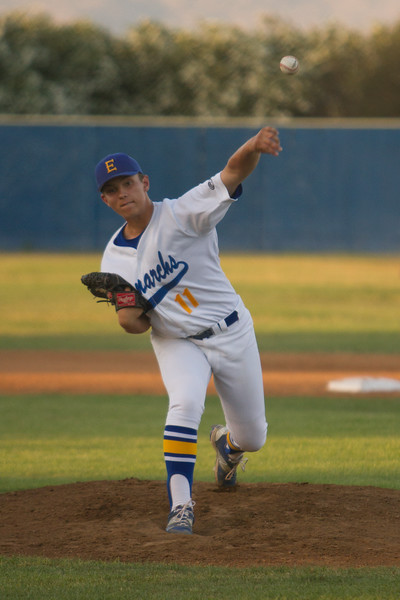 Exeter Monarch pitcher Tyler Rumbaugh (11) pitched 4 innings allowing the Kingsburg Vikings just 3 hits in the Monrach's 3-0 victory on Friday night at Lion's Field.