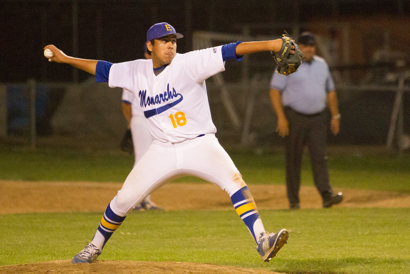 Alex Farias (18) came pitched 3 relief innings for the Exeter Monarchs in their 3-0 victory over the Kingsburg Vikings to earn the Save.  The Monarch victory secured the Central Sequoia League crown for the Monarchs.