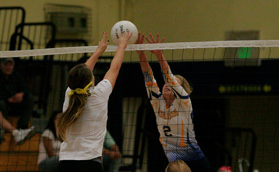 Monarch setter Jacque Hutcheson (2) protects the net against Kingburg on Thurdsay, October 17, 2013.