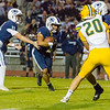 Central Valley Christian RB Jaalen Rening receives a handoff from  Cavalier QB Tyce Griswold in Friday night's CSL action. Kingsburg would defeat CVC by a 34-20 score.
