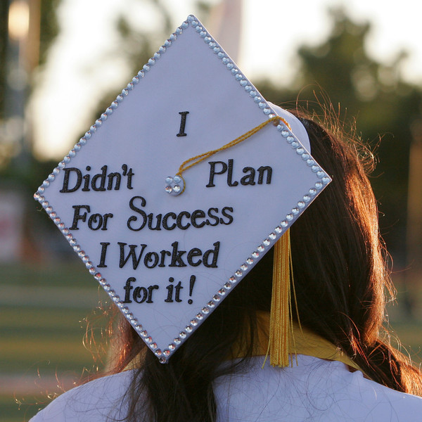 A message on the top of a graduation cap at the Lindsay High School Commencement ceremony.