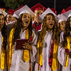 Member of the Lindsay High School Class of 2015 sing the Alma Mater for the first time as graduates.