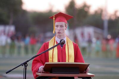 Charlse Kreisel, the Lindsay High School Valedicatorian addresses his classmates during Commencement  on June 7, 2013.