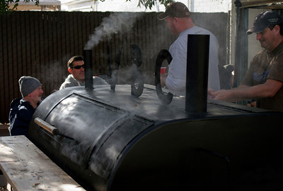 The Visalia Brewing Company crew manning the smoker at the Lindsay Rib Cook Off.